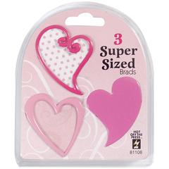 Super Sized Brads Pink Heart
