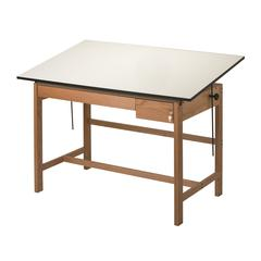"Alvin Titan II Solid Oak White Top Drafting Table 2 Drawers 37 1/2"" x 60"""