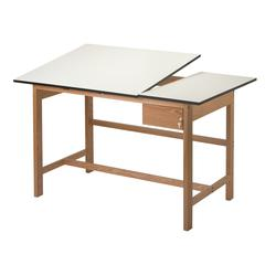Split Top Solid Oak White Top Drafting Table
