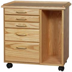 Oak 5 Drawer Taboret with Side Storage