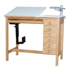 Oak 30 x 42 6 Drawer Computer Table