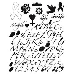 Blue Hills Studio Breast Cancer Awareness Lettering Template