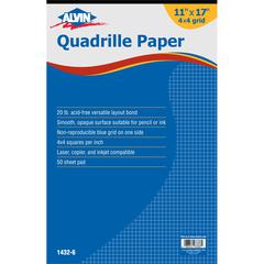 "Quadrille Paper 4x4 Grid 50-Sheet Pad 11"" x 17"""