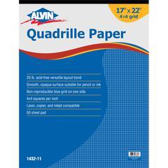 Quadrille Paper 4x4 Grid 50-Sheet Pad 17 x 22