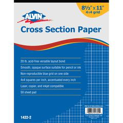 "Alvin Cross Section Paper 4"" x 4"" Grid 50-Sheet Pad 8 1/2"" x 11"""