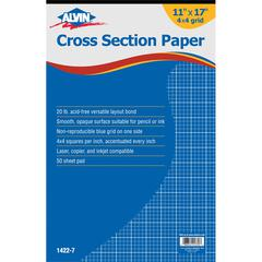 "Alvin Cross Section Paper 4"" x 4"" Grid 50-Sheet Pad 11"" x 17"""