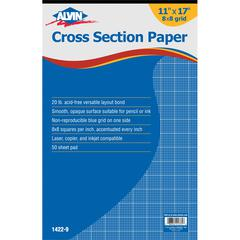 "Alvin Cross Section Paper 8"" x 8"" Grid 50-Sheet Pad 11"" x 17"""