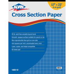 "Alvin Cross Section Paper 4"" x 4"" Grid 50-Sheet Pad 17"" x 22"""