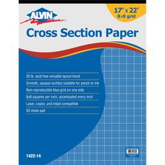 "Cross Section Paper 8"" x 8"" Grid 50-Sheet Pad 17"" x 22"""