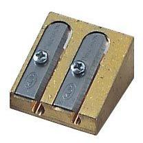 Brass Wedge Double Hole Sharpener Display