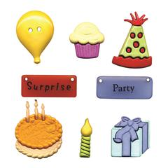 Flat-back Buttons Theme Pack Birthday Fun