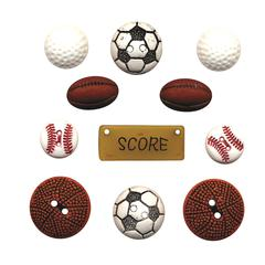 Flat-back Buttons Theme Pack Sports Balls