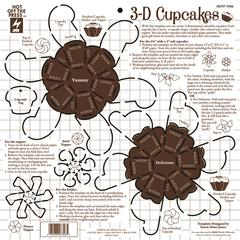 "Hot Off the Press 12"" x 12"" Papercrafing Template 3D Cupcakes"