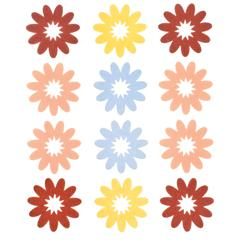 Flocked Daisy Stickers Red