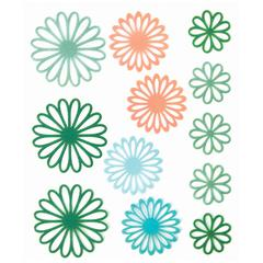 Gel Outline Daisy Stickers Green