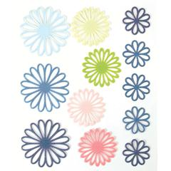 Gel Outline Daisy Stickers Blue