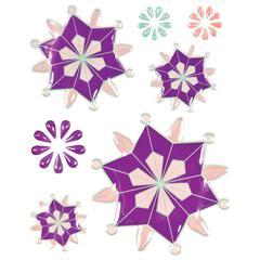 Blue Hills Studio ColorStories Epoxy Snowflower Stickers Purple