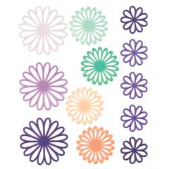 Gel Outline Daisy Stickers Purple