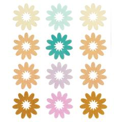 Flocked Daisy Stickers Brown