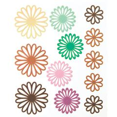 Gel Outline Daisy Stickers Brown