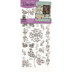 Dazzles Stickers Silver Dragonfly