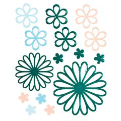 Glossy Embossed Daisy Stickers Green