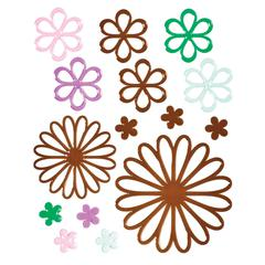 Glossy Embossed Daisy Stickers Brown