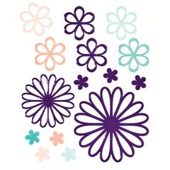 Glossy Embossed Daisy Stickers Purple