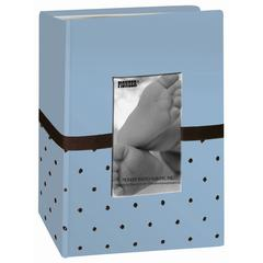 Embroidered Fabric Photo Album Gift Box Set Baby Blue