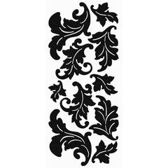Jumbo Damask Leaves Velvet Stickers Black