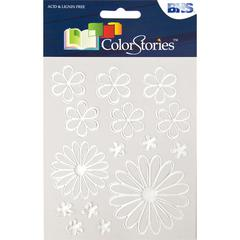 Glossy Embossed Daisy Stickers White