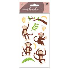 Vellum/Glitter Stickers Monkey's