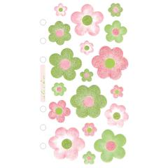 Vellum/Glitter Stickers Pink/Green Flowers