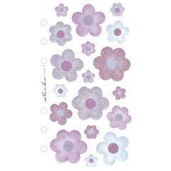 Sticko Vellum/Glitter Stickers Blue/Purple Flowers