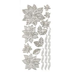 Stickers Silver Poinsettias