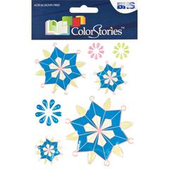 Epoxy Snowflower Stickers Blue