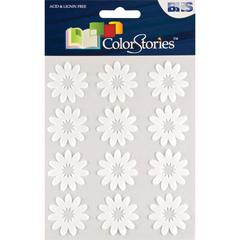 Blue Hills Studio ColorStories Flocked Daisy Stickers White