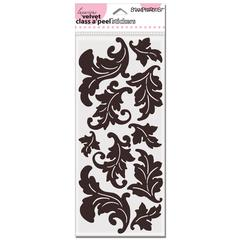 Jumbo Damask Leaves Velvet Stickers Mocha