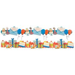 Stacked Border Stickers Birthday
