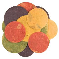 Handmade Paper Die-Cuts Red/Green/Blue Deep Circles