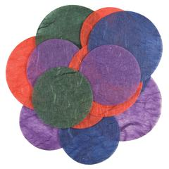 Handmade Paper Die-Cuts Red/Green/Blue Bright Circles