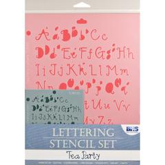 Blue Hills Studio Lettering Stencil Set Tea Party