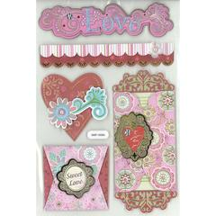 3D Foil Embossed Stickers Spunky Love