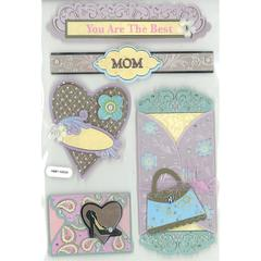 Forever in Time 3D Foil Embossed Stickers The Best Mom