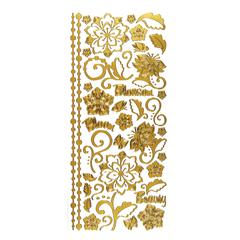 Stickers Whimsical Flowers Gold