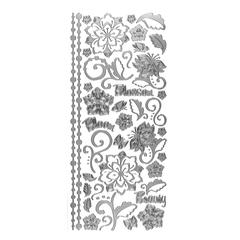 Dazzles Stickers Whimsical Flowers Silver