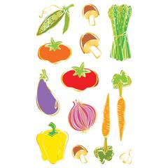 Mrs. Grossman's Giant Size Sheet Stickers Vegetables