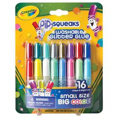 Crayola Pip-Squeaks Washable Glitter Glue 16-Color Set