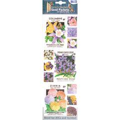 Blue Hills Studio Irene's Garden Seed Packet Fabric Stickers Purple