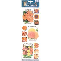 Blue Hills Studio Irene's Garden Seed Packet Fabric Stickers Orange
